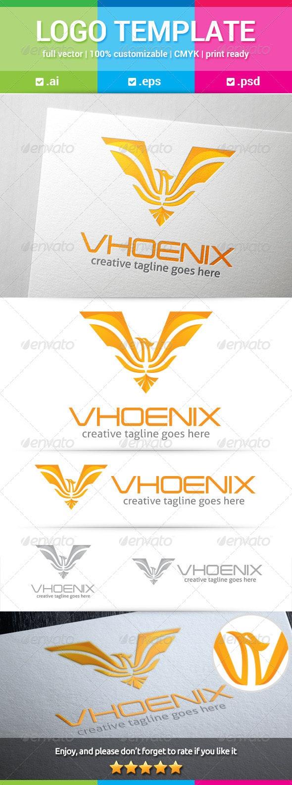 Phoenix Letter V Logo - Animals Logo Templates