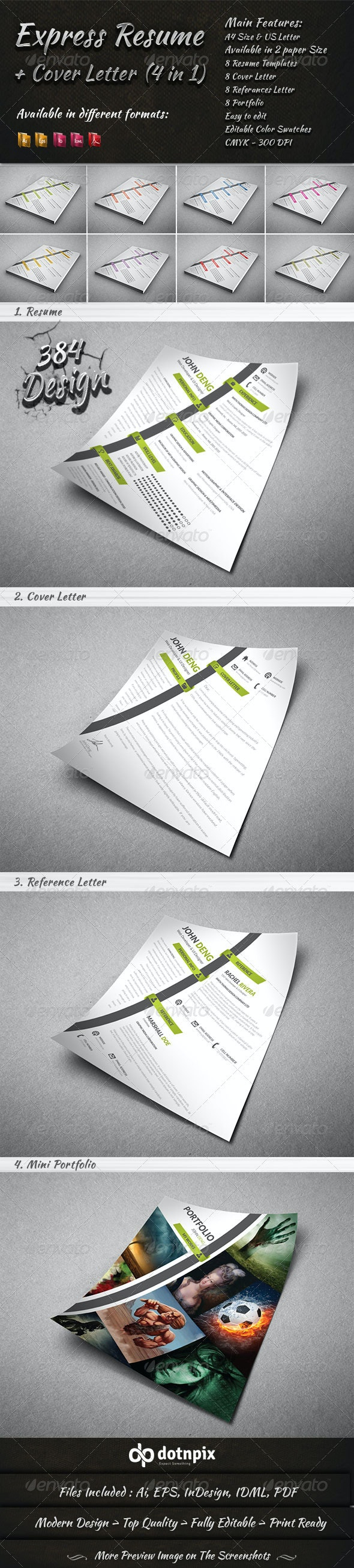 Express Resume - Cover Letter (4 in 1) - Resumes Stationery