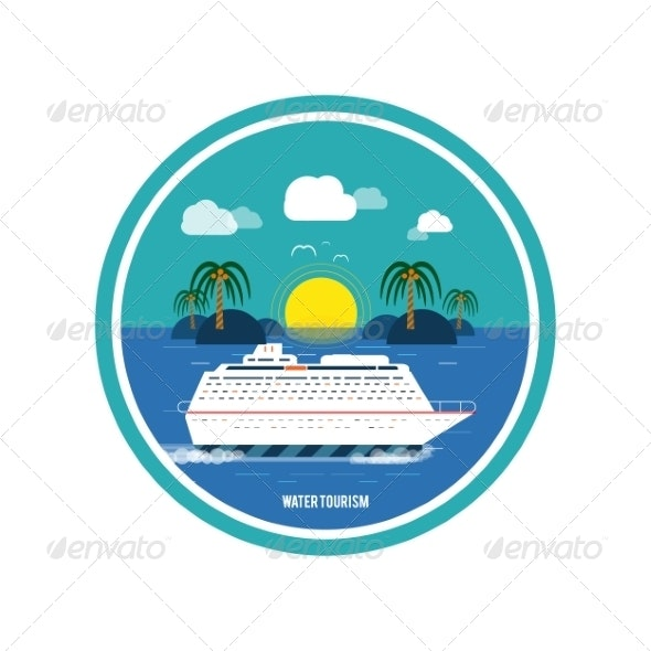 Cruise Ship. Water Tourism - Travel Conceptual