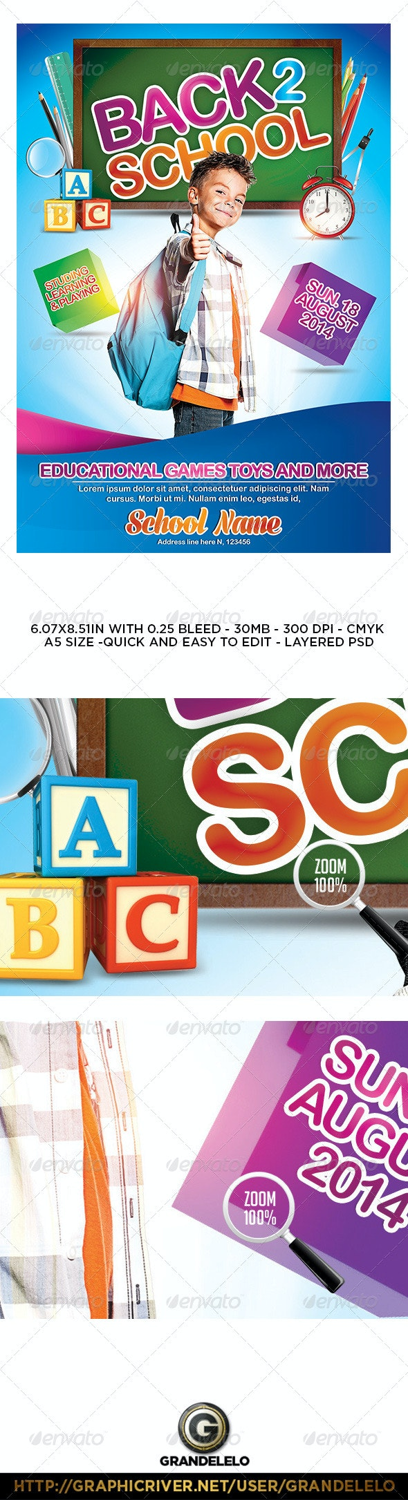 Kids Back to School Flyer / Poster Template - Events Flyers