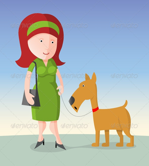 Woman with Dog - People Characters