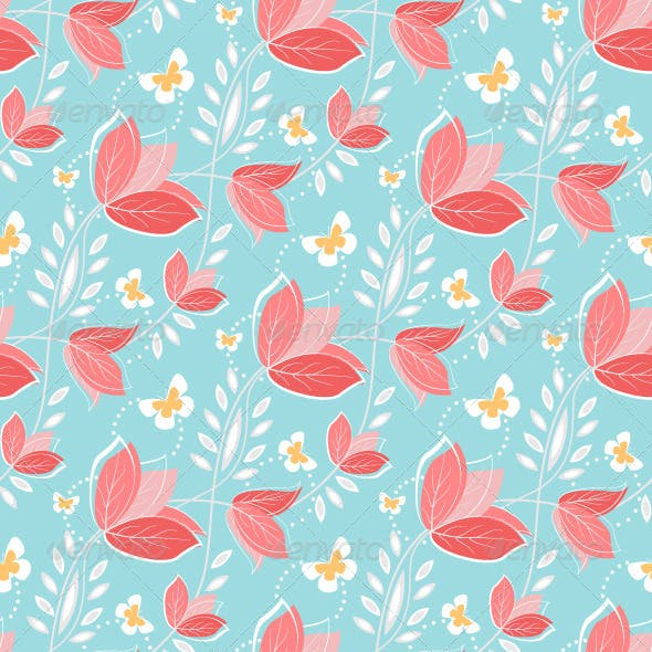 Seamless Pattern Vintage Flowers