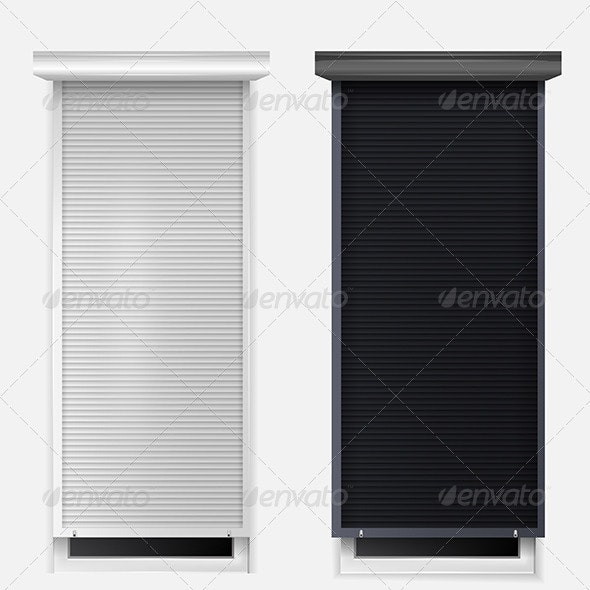Illustration of Windows with Louvers - Buildings Objects