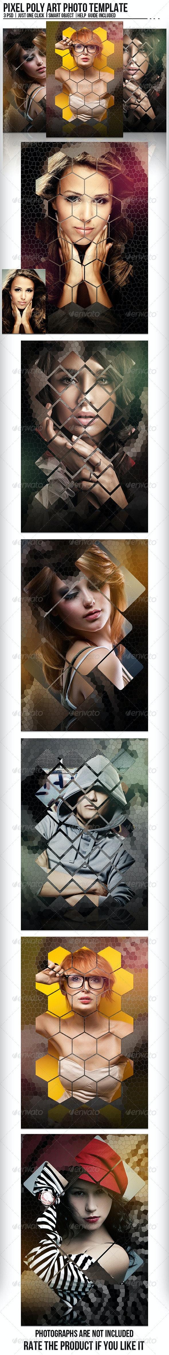 Pixel Poly Art Photo Template - Artistic Photo Templates