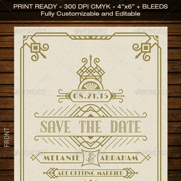Wedding Save the Date Post Card - Art Deco 01