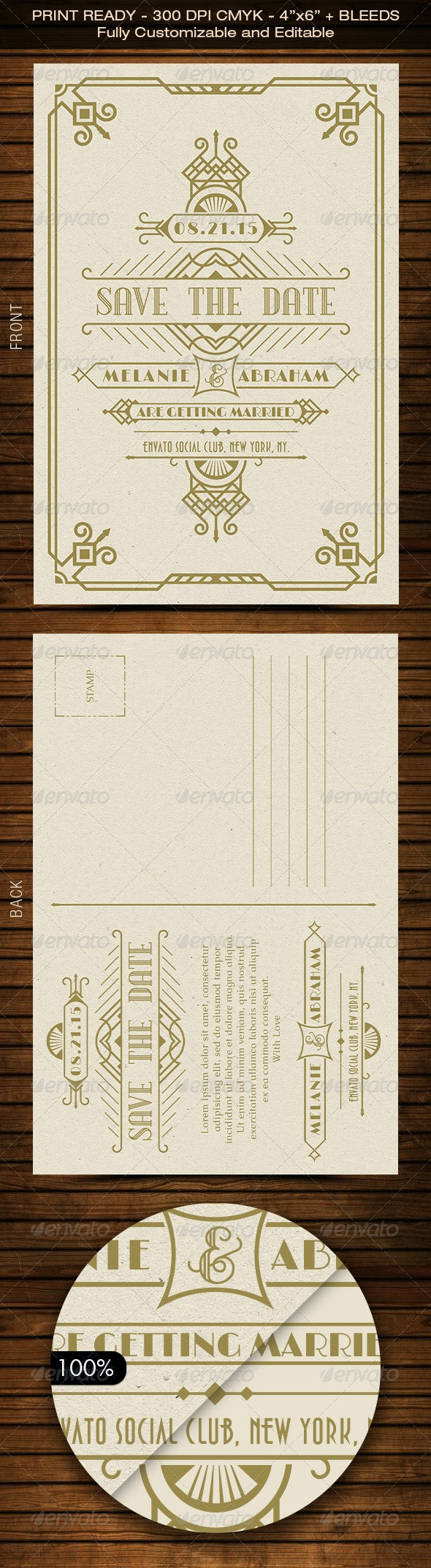 Wedding Save the Date Post Card - Art Deco 01 - Weddings Cards & Invites