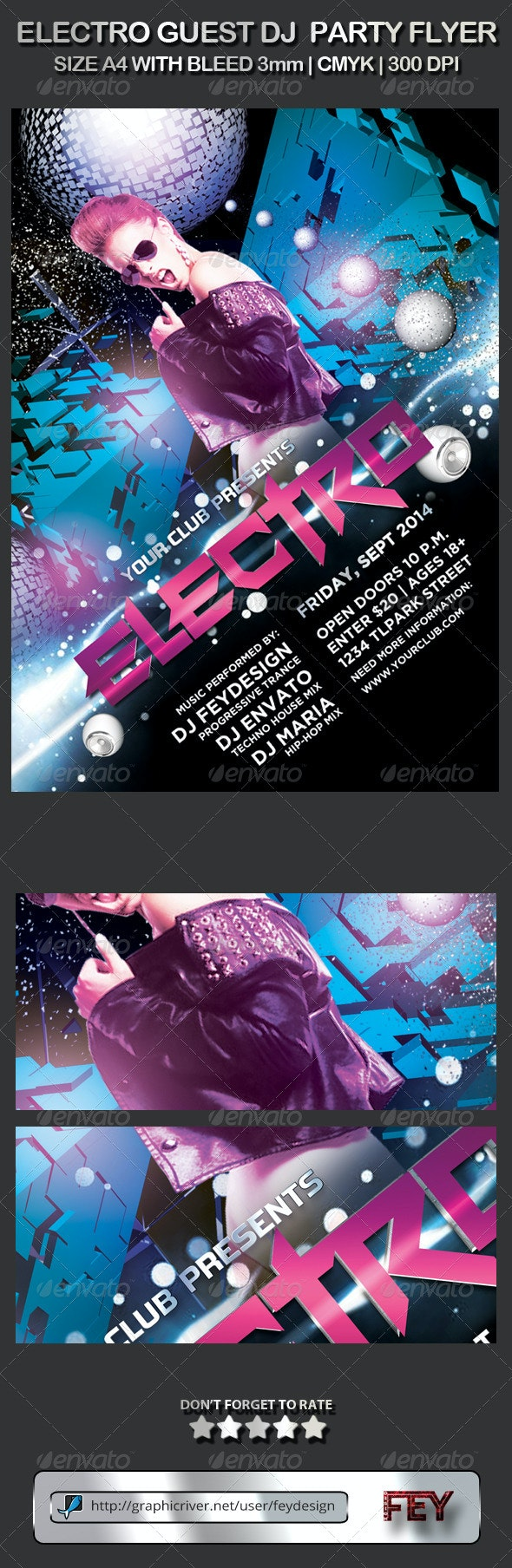 Electro Guest DJ Party Flyer - Events Flyers