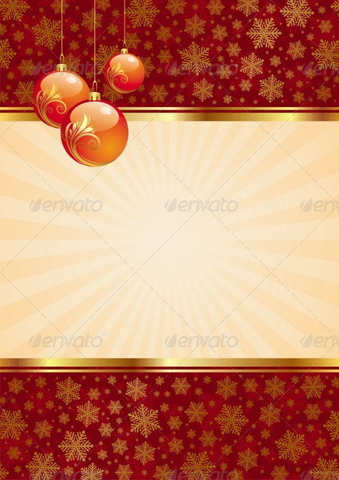 Vector Background With Christmas Baubles - Christmas Seasons/Holidays