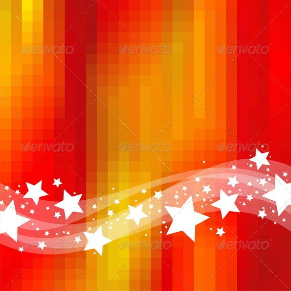Abstract Red Background With Waves and Stars - Backgrounds Decorative