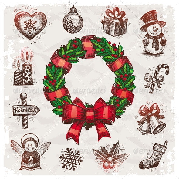 Christmas and New Years Vector Hand Drawn Set - Christmas Seasons/Holidays