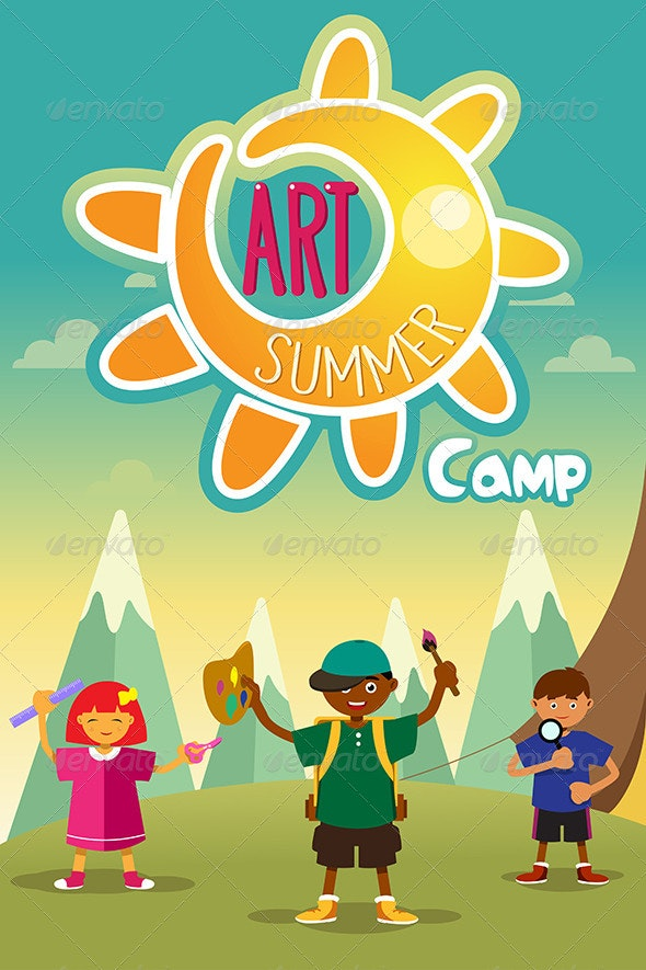 Art Summer Camp Poster - Sports/Activity Conceptual