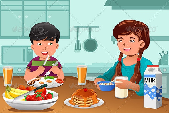 Kids Eating Healthy Breakfast - People Characters