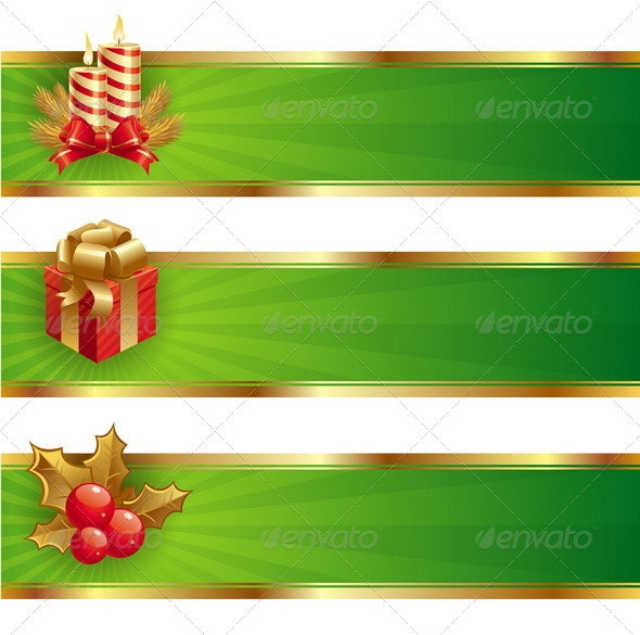 Christmas Vector Banners With Holidays Symbols - Christmas Seasons/Holidays