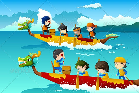 Kids in a Boat Race - Sports/Activity Conceptual