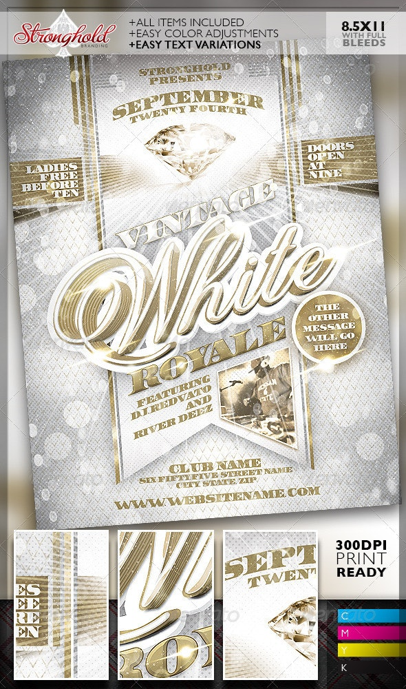 Vintage White Royale Party Flyer Template - Clubs & Parties Events