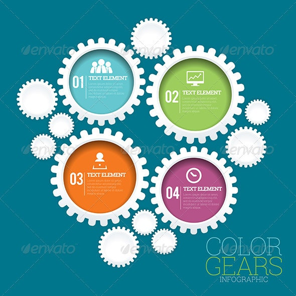 Color Gears Infographic - Infographics