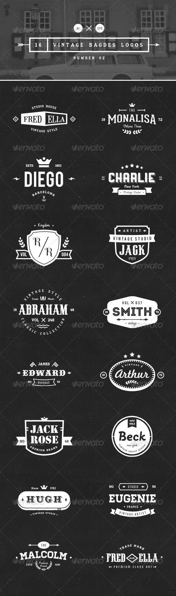 16 Vintage Badges Logos Number 02 - Badges & Stickers Web Elements