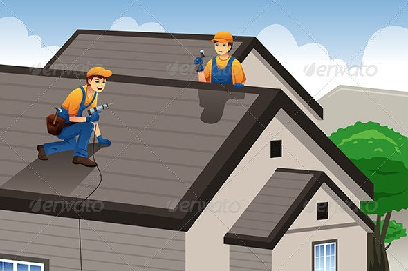 Roofer Working on the Roof - People Characters