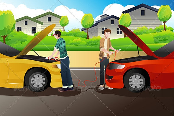 Two People Trying to Jump Start a Car - People Characters