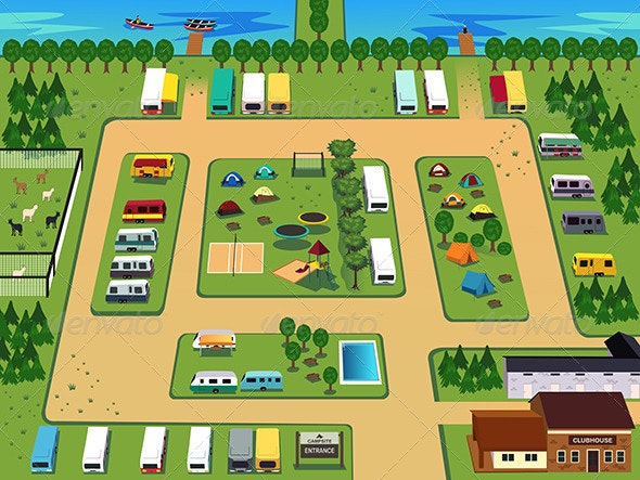Campground Map - Objects Vectors