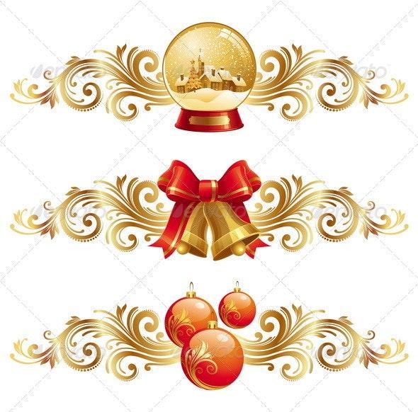 Christmas Symbols With Ornamental Decor - Christmas Seasons/Holidays