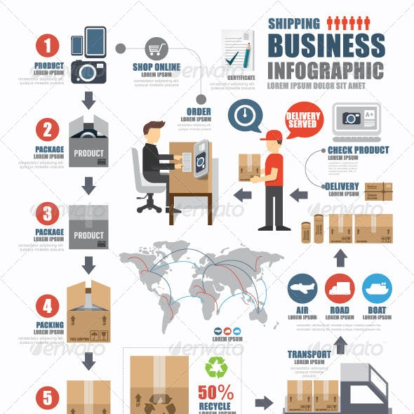 Infographic Shipping World Business Template