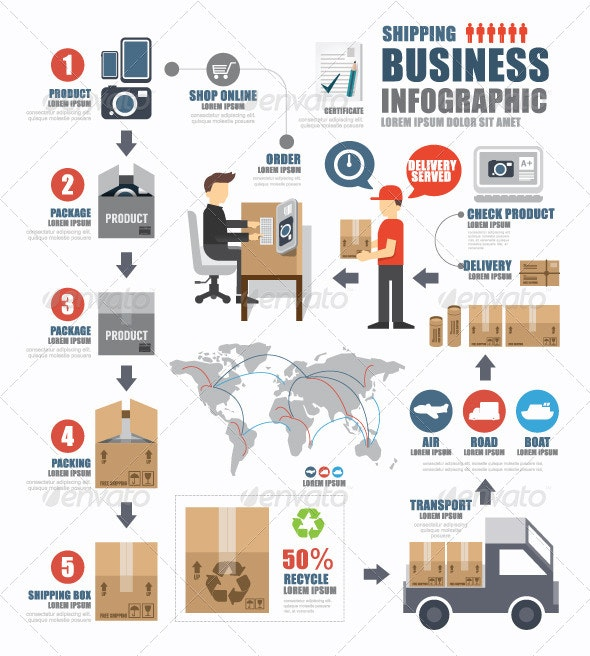 Infographic Shipping World Business Template - Infographics