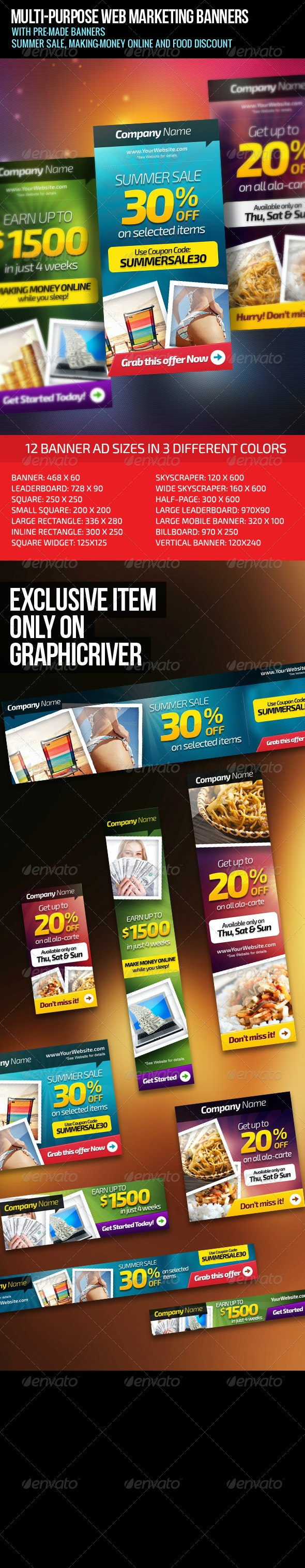 Multi-Purpose Web Marketing Banners - Banners & Ads Web Elements