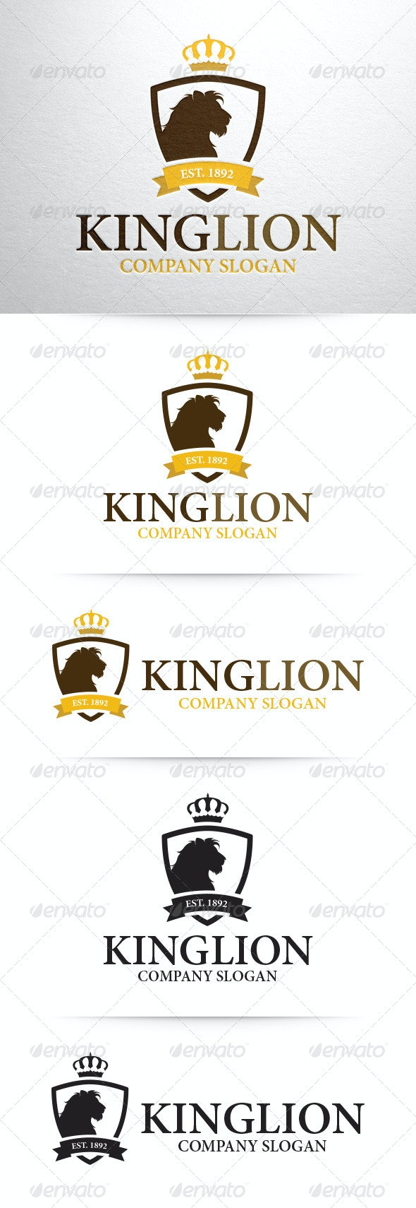 King Lion Logo Template - Crests Logo Templates