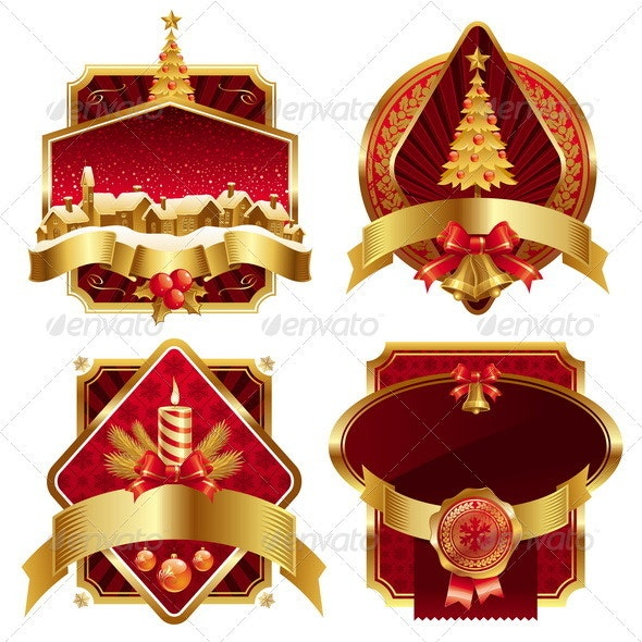 Framed Labels With Christmas Symbols - Christmas Seasons/Holidays