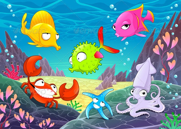 Happy Animals Under the Sea - Animals Characters