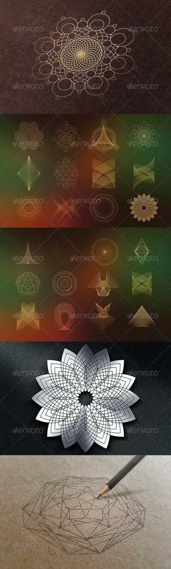 24 Geometric Shapes - Lines (v.2) - Decorative Symbols Decorative
