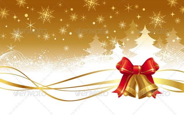 Christmas Illustration With Golden Hand Bells - Christmas Seasons/Holidays