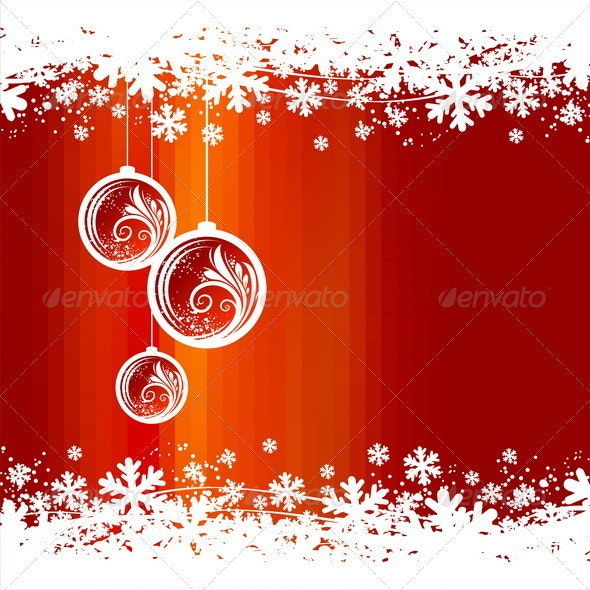 Winter Abstract Background With Christmas baubles - Christmas Seasons/Holidays
