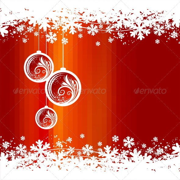 Winter Abstract Background With Christmas baubles