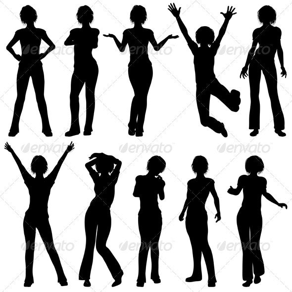 Silhouettes Girls - People Characters