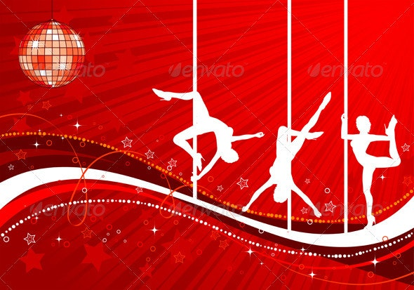 Vector silhouettes dancing women - People Characters