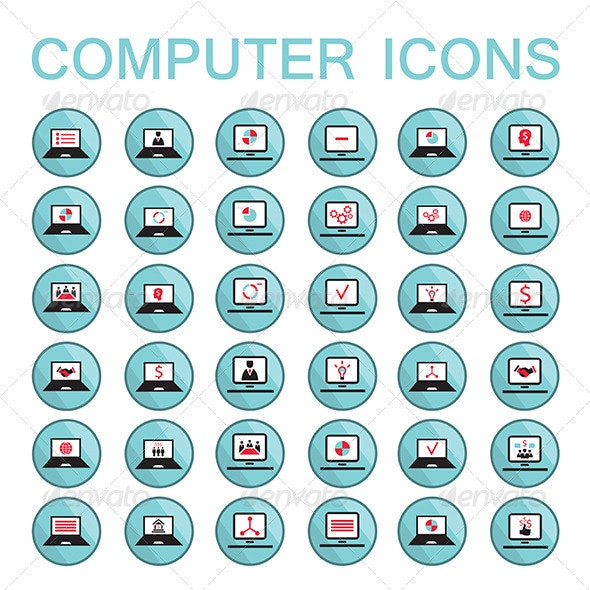 36 Computer Icon Set - Computers Technology
