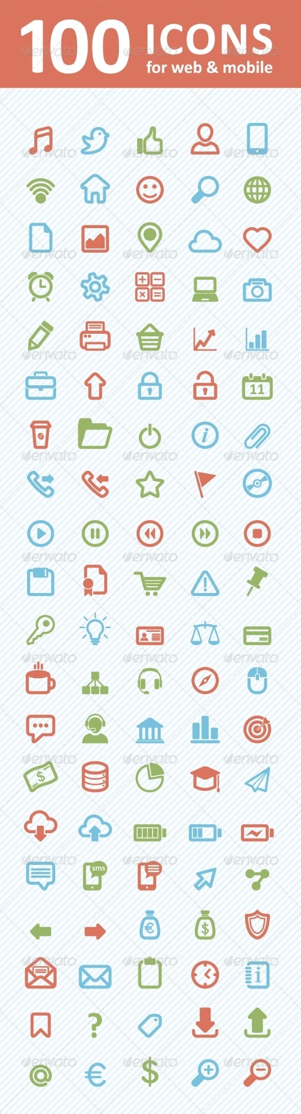 100 Icons for Web and Mobile - Web Icons
