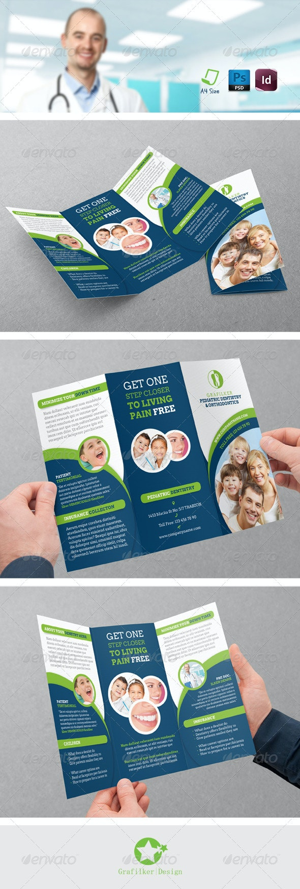 Dentist Tri-Fold Templates - Brochures Print Templates