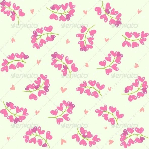 Heart Berries Seamless Pattern - Flowers & Plants Nature