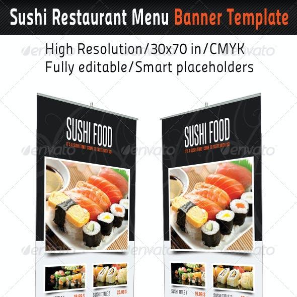 Sushi Restaurant Menu Banner Template