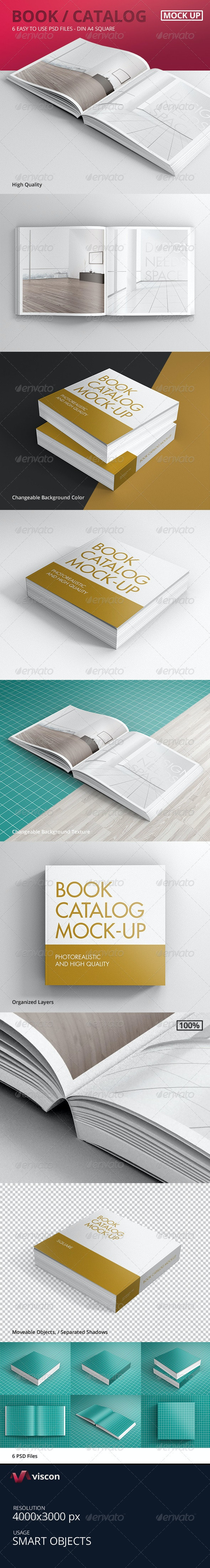 Book / Catalog Mock-Ups Square - Books Print