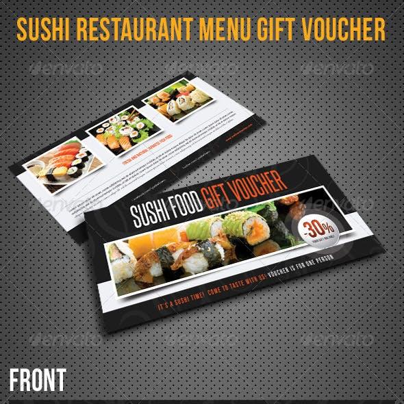 Sushi Restaurant Menu Gift Voucher V20