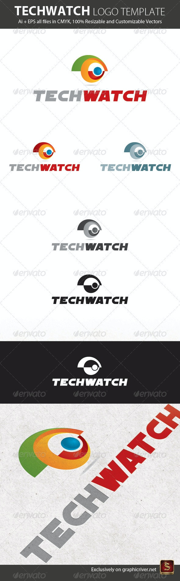 Tech Watch Logo Template - Vector Abstract
