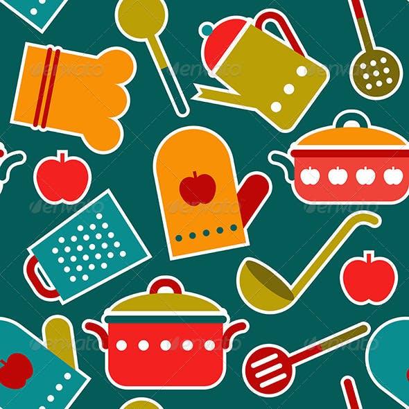 Seamless Pattern of Kitchen Utensil