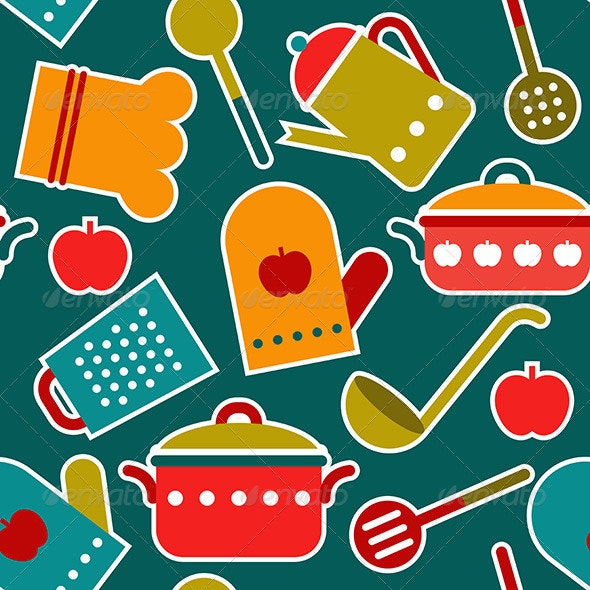 Seamless Pattern of Kitchen Utensil - Patterns Decorative