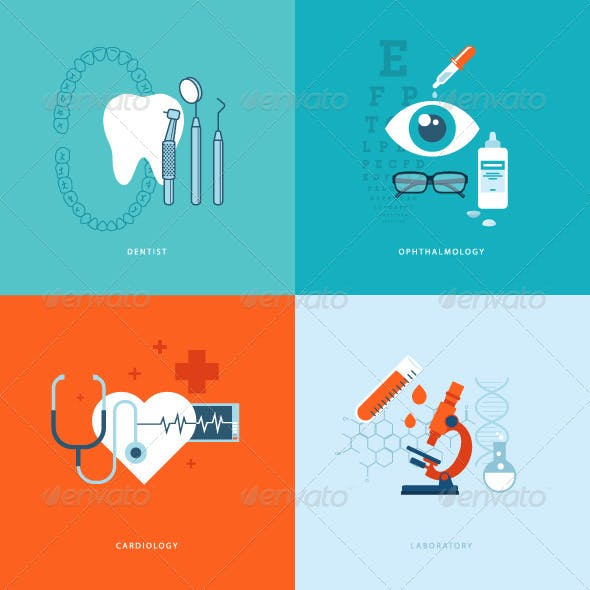 Flat Design Concept Icons on Medicine Theme