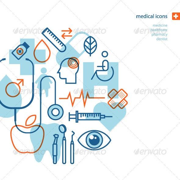 Set of Flat Design Medical Icons  - Health/Medicine Conceptual