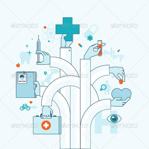 Flat Line Concept on Medicine Theme